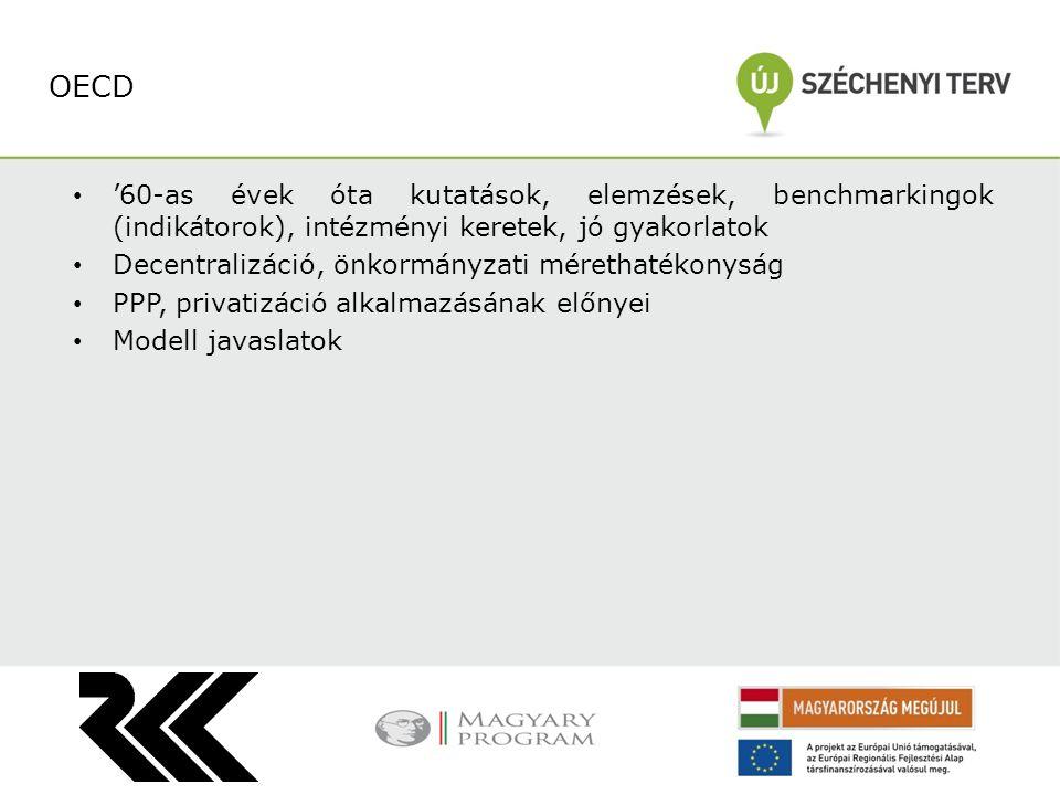 OECD '60-as évek óta kutatások, elemzések, benchmarkingok (indikátorok), intézményi keretek, jó gyakorlatok.