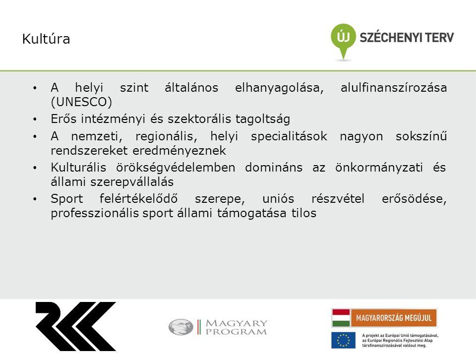 Kultúra A helyi szint általános elhanyagolása, alulfinanszírozása (UNESCO) Erős intézményi és szektorális tagoltság.
