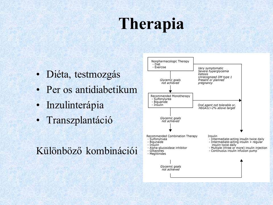 Therapia Diéta, testmozgás Per os antidiabetikum Inzulinterápia