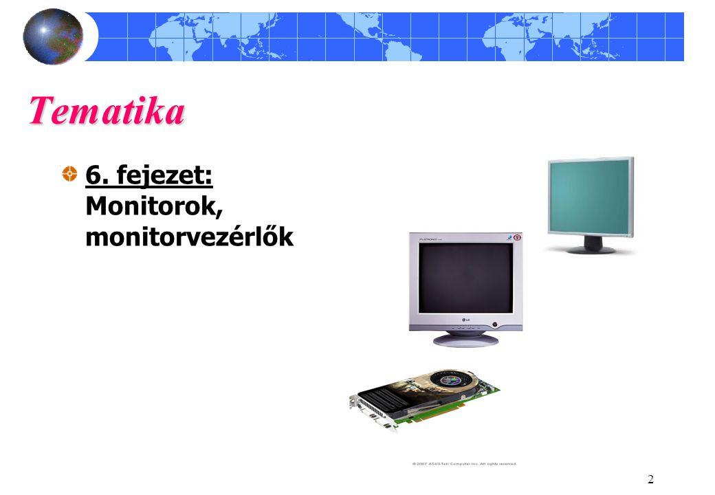 Tematika 6. fejezet: Monitorok, monitorvezérlők