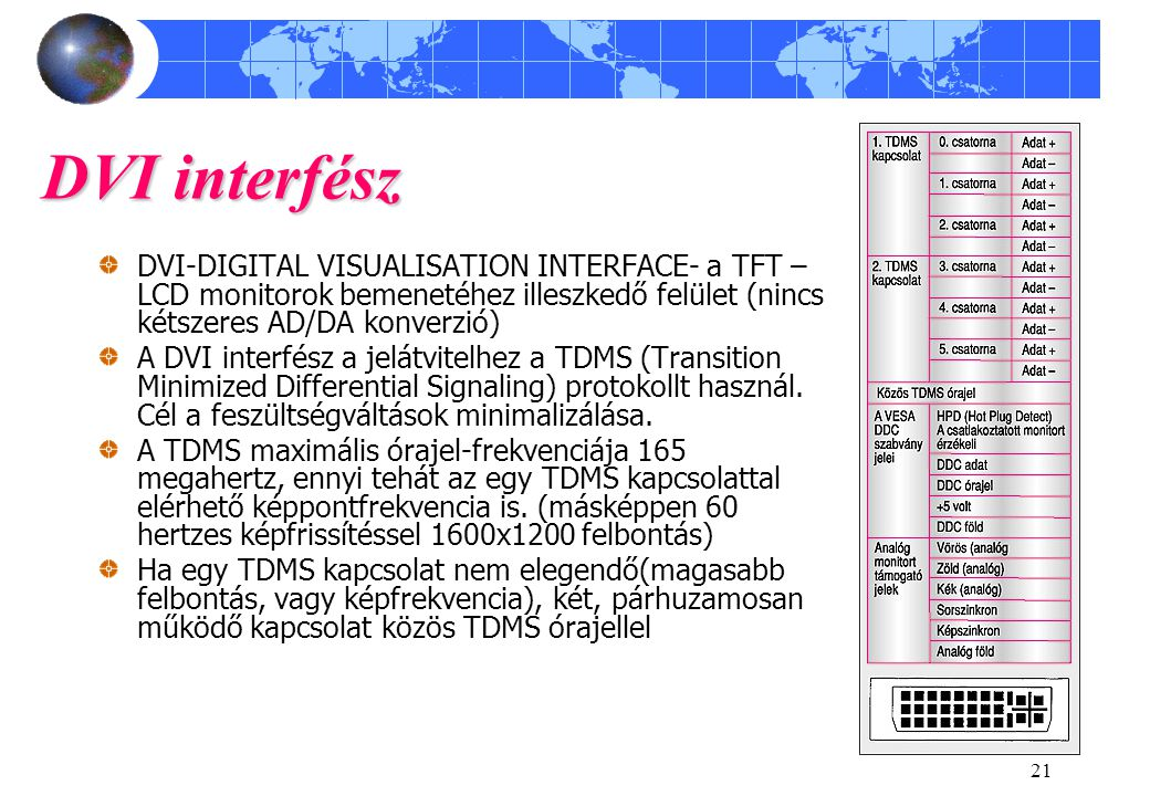 DVI interfész DVI-DIGITAL VISUALISATION INTERFACE- a TFT –LCD monitorok bemenetéhez illeszkedő felület (nincs kétszeres AD/DA konverzió)