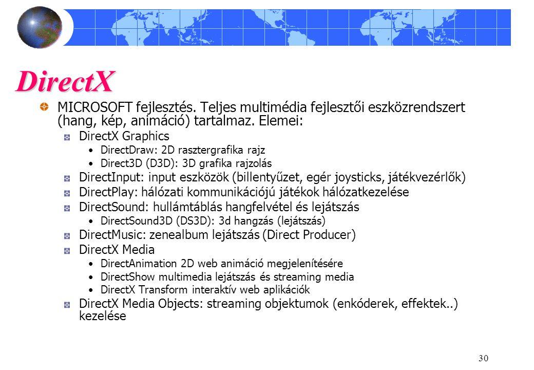 DirectX MICROSOFT fejlesztés. Teljes multimédia fejlesztői eszközrendszert (hang, kép, animáció) tartalmaz. Elemei: