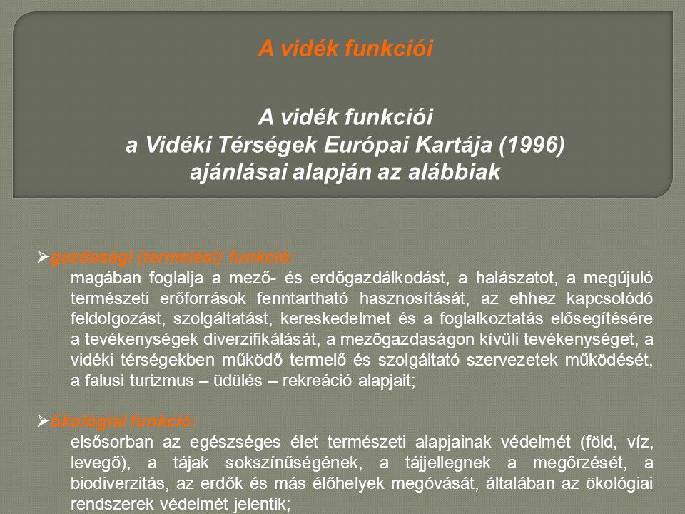 a Vidéki Térségek Európai Kartája (1996) ajánlásai alapján az alábbiak