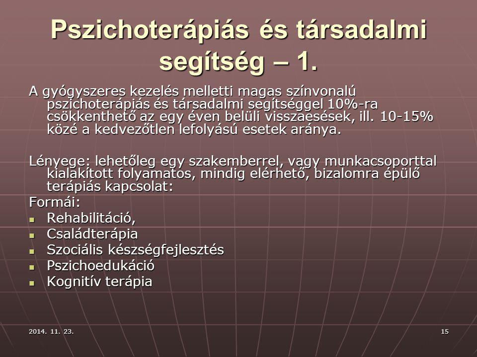 Pszichoterápiás és társadalmi segítség – 1.