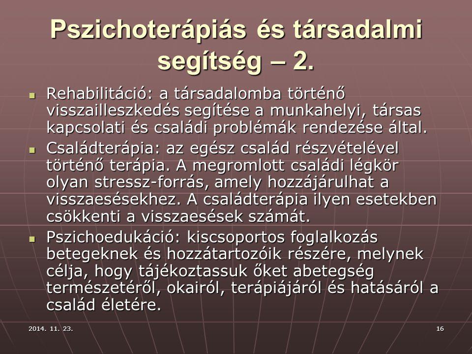 Pszichoterápiás és társadalmi segítség – 2.
