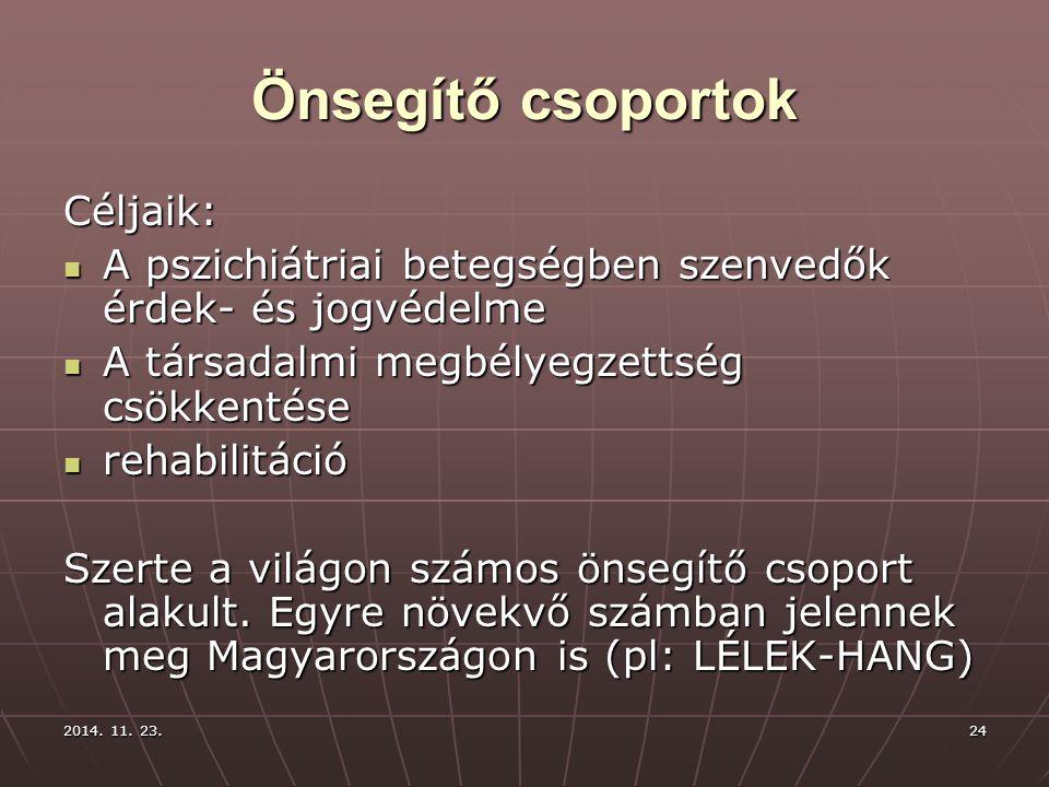 Önsegítő csoportok Céljaik: