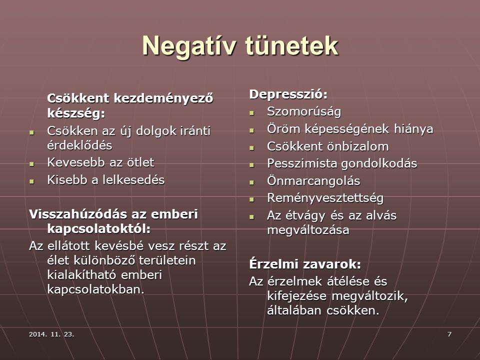 Negatív tünetek Csökkent kezdeményező készség: Depresszió: Szomorúság