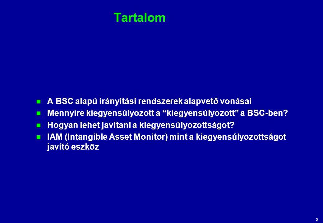Tartalom A BSC alapú irányítási rendszerek alapvető vonásai