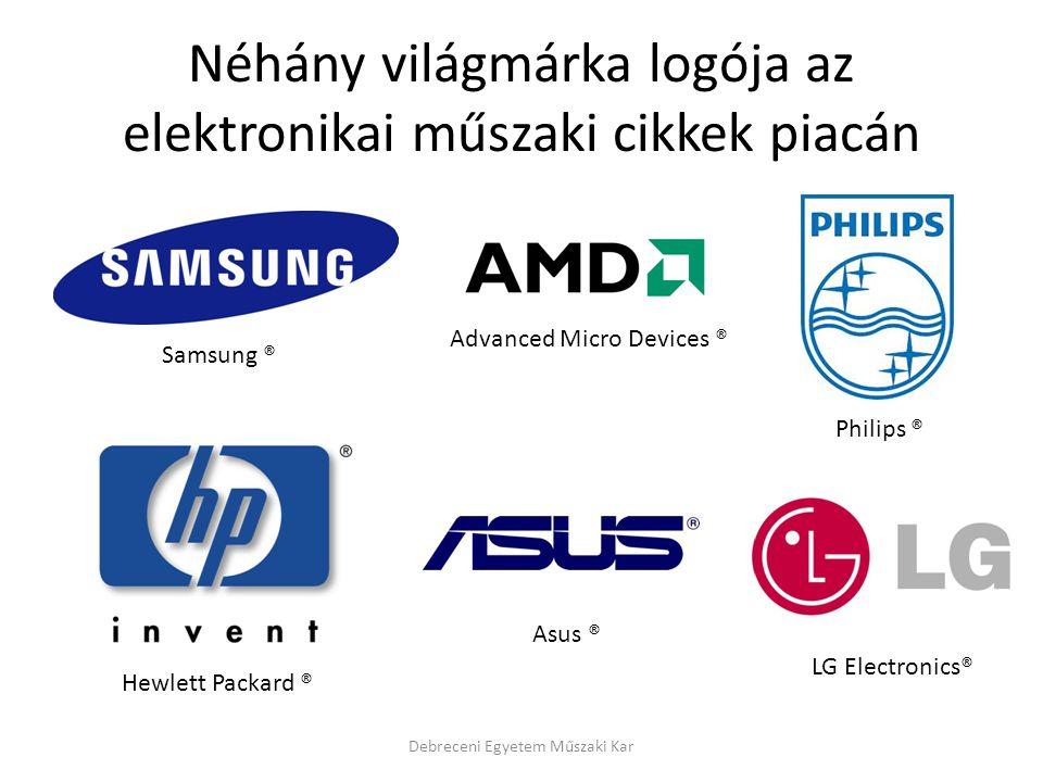 Néhány világmárka logója az elektronikai műszaki cikkek piacán