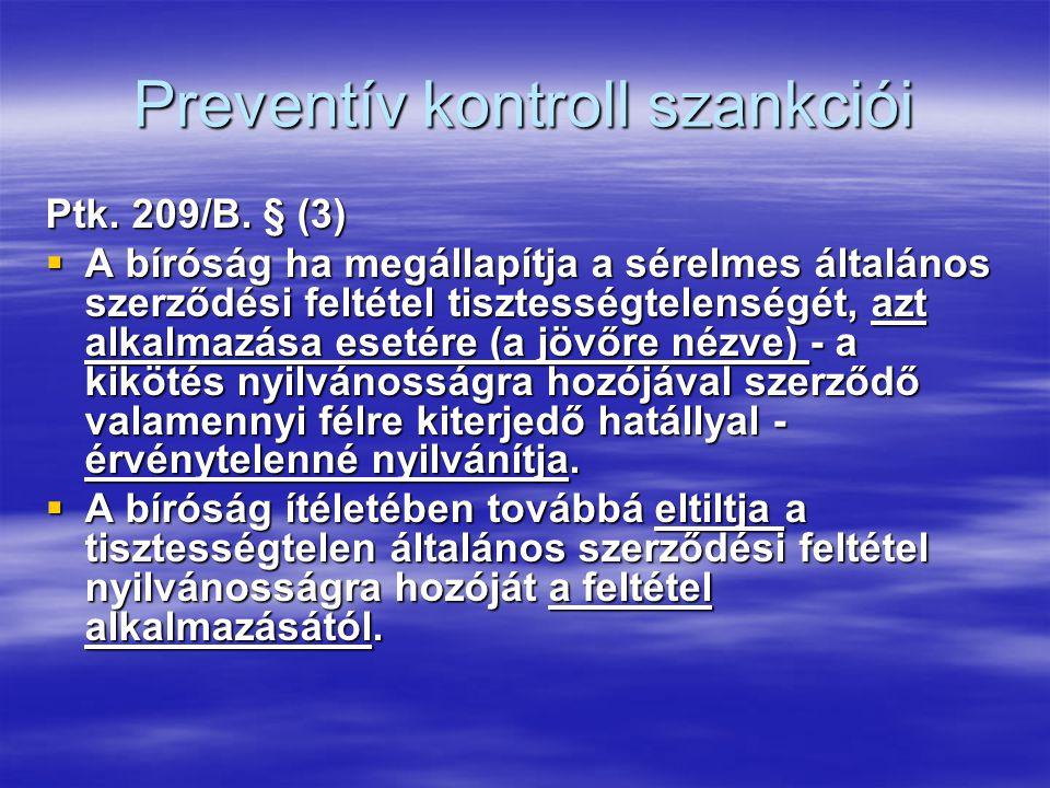 Preventív kontroll szankciói