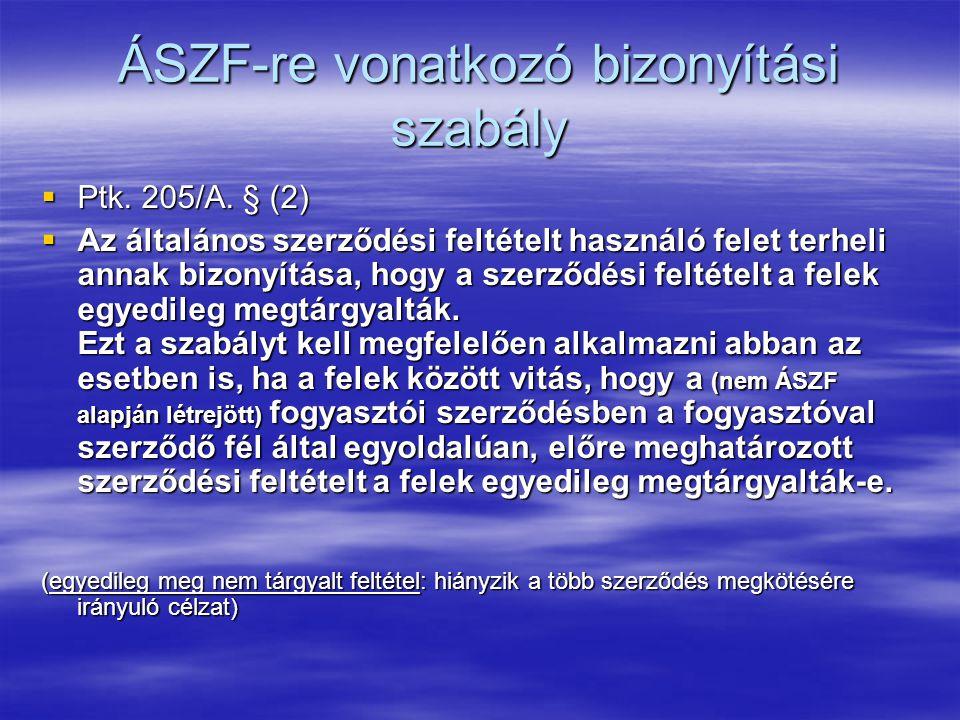 ÁSZF-re vonatkozó bizonyítási szabály