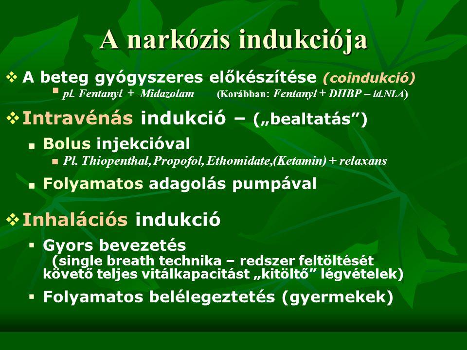 """A narkózis indukciója Intravénás indukció – (""""bealtatás )"""