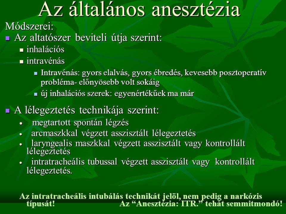 Az általános anesztézia
