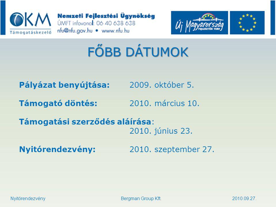 FŐBB DÁTUMOK Pályázat benyújtása: 2009. október 5.