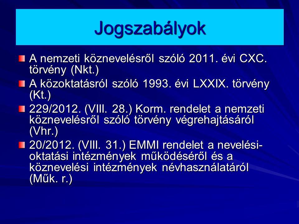 Jogszabályok A nemzeti köznevelésről szóló 2011. évi CXC. törvény (Nkt.) A közoktatásról szóló 1993. évi LXXIX. törvény (Kt.)