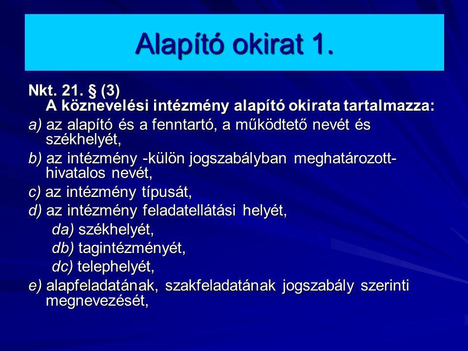 Alapító okirat 1. Nkt. 21. § (3) A köznevelési intézmény alapító okirata tartalmazza: