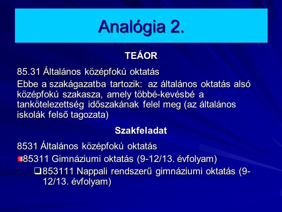 Analógia 2. TEÁOR 85.31 Általános középfokú oktatás