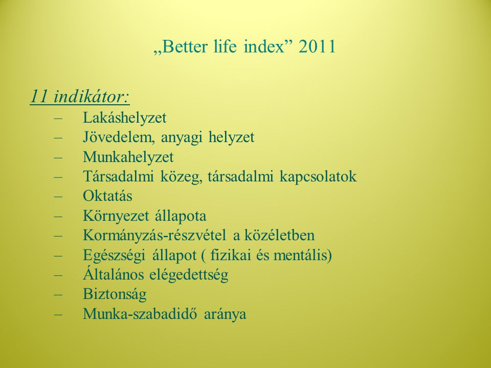 """""""Better life index 2011 11 indikátor: Lakáshelyzet"""