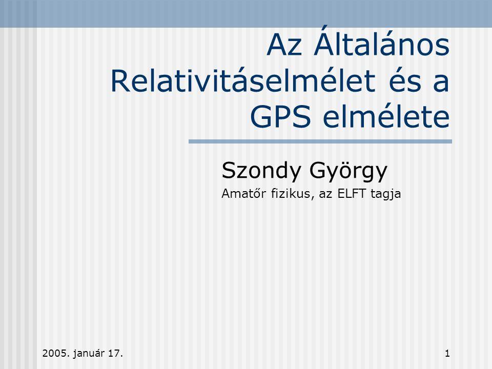 Az Általános Relativitáselmélet és a GPS elmélete