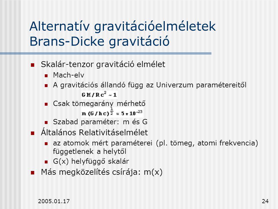 Alternatív gravitációelméletek Brans-Dicke gravitáció