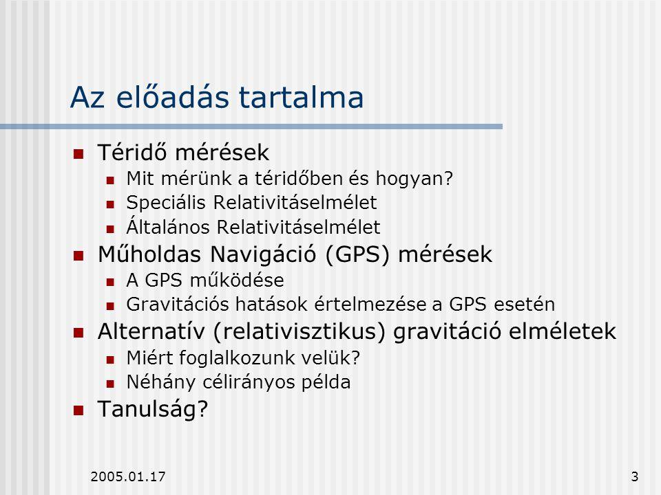 Az előadás tartalma Téridő mérések Műholdas Navigáció (GPS) mérések