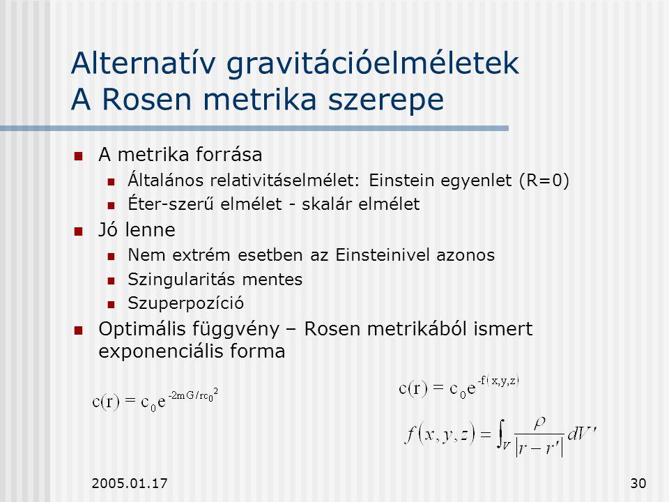 Alternatív gravitációelméletek A Rosen metrika szerepe