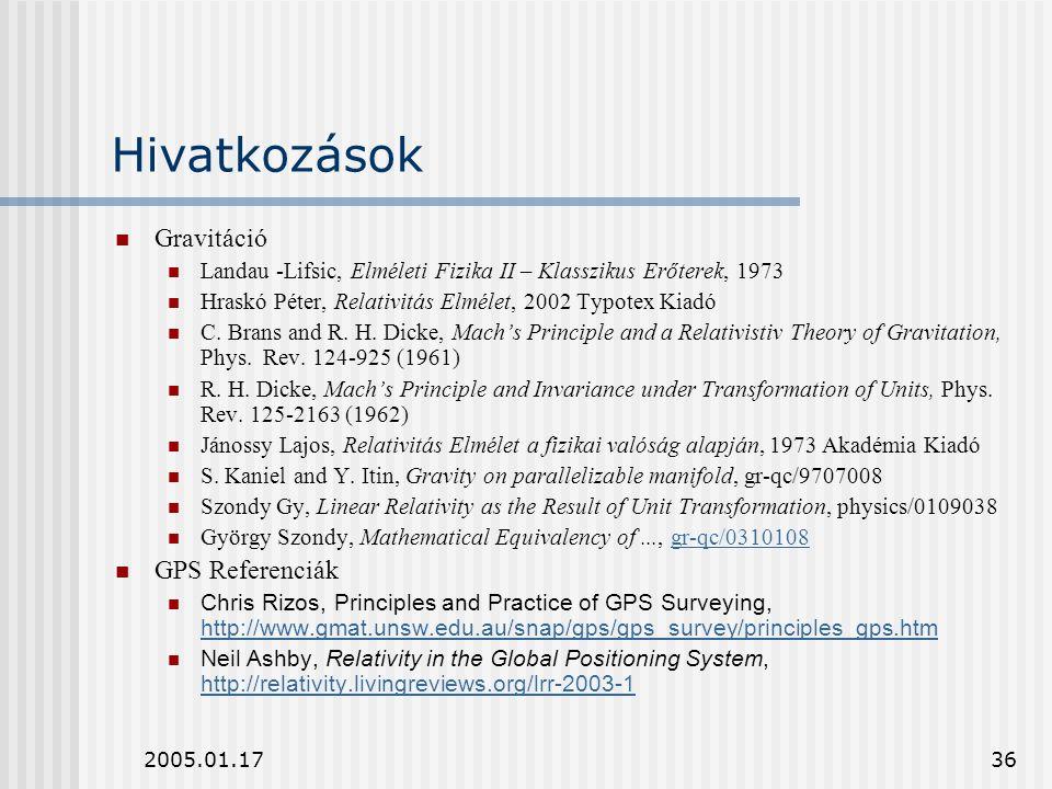 Hivatkozások Gravitáció GPS Referenciák