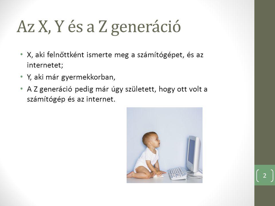 Az X, Y és a Z generáció X, aki felnőttként ismerte meg a számítógépet, és az internetet; Y, aki már gyermekkorban,