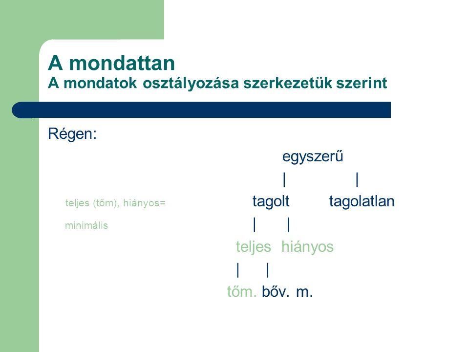 A mondattan A mondatok osztályozása szerkezetük szerint