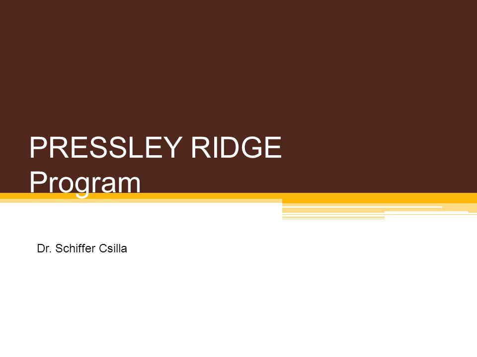 PRESSLEY RIDGE Program