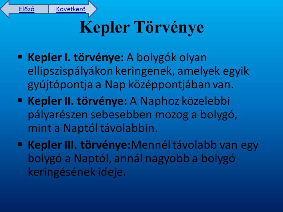 Kepler Törvénye Kepler I. törvénye: A bolygók olyan ellipszispályákon keringenek, amelyek egyik gyújtópontja a Nap középpontjában van.