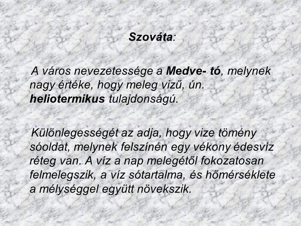 Szováta: A város nevezetessége a Medve- tó, melynek nagy értéke, hogy meleg vizű, ún. heliotermikus tulajdonságú.