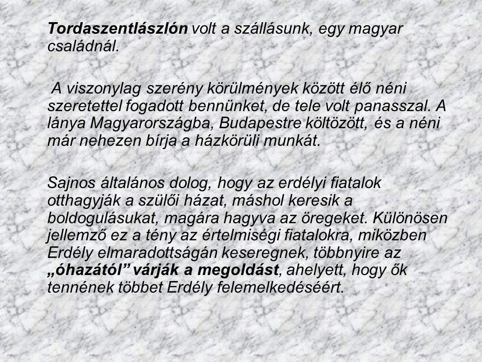 Tordaszentlászlón volt a szállásunk, egy magyar családnál.