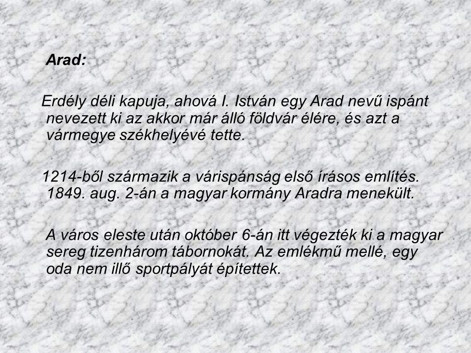 Arad: Erdély déli kapuja, ahová I. István egy Arad nevű ispánt nevezett ki az akkor már álló földvár élére, és azt a vármegye székhelyévé tette.