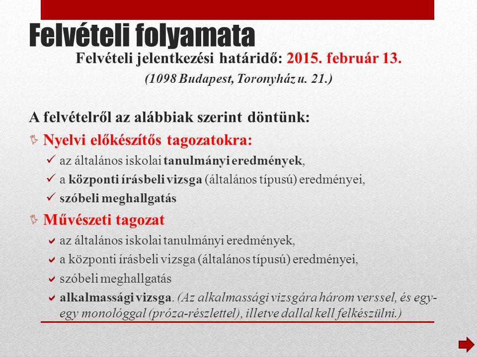 Felvételi folyamata Felvételi jelentkezési határidő: 2015. február 13.
