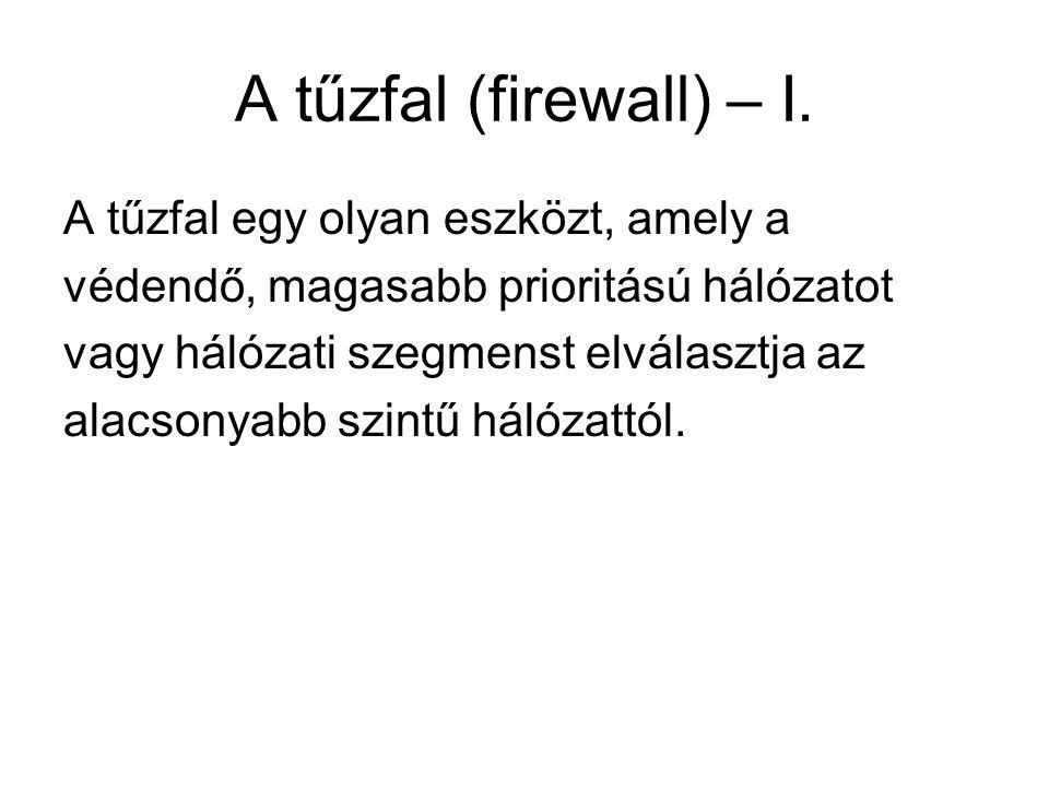 A tűzfal (firewall) – I. A tűzfal egy olyan eszközt, amely a