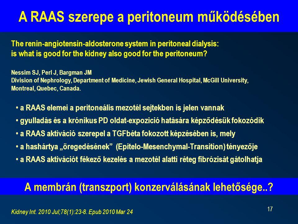 A RAAS szerepe a peritoneum működésében