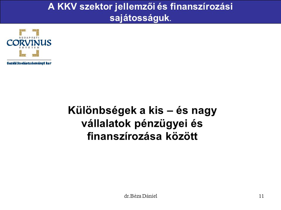 A KKV szektor jellemzői és finanszírozási sajátosságuk.