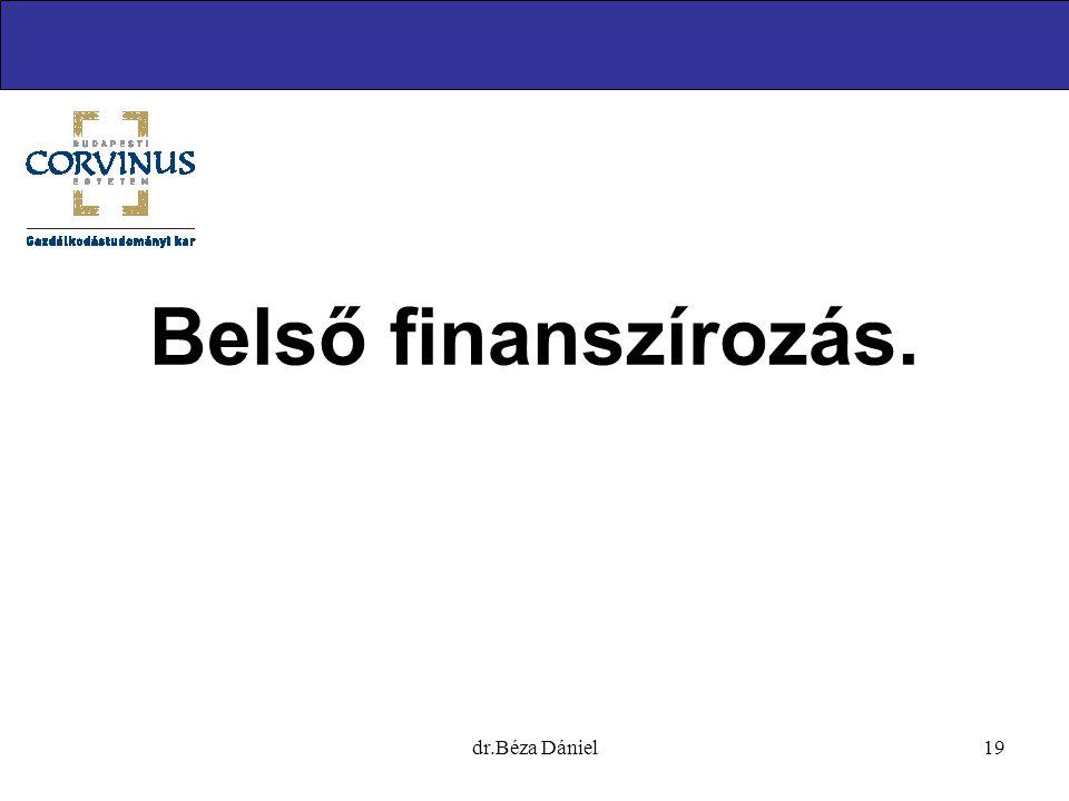 Belső finanszírozás. dr.Béza Dániel