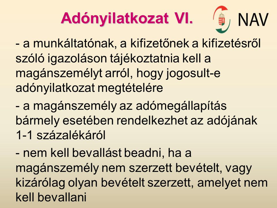 Adónyilatkozat VI.