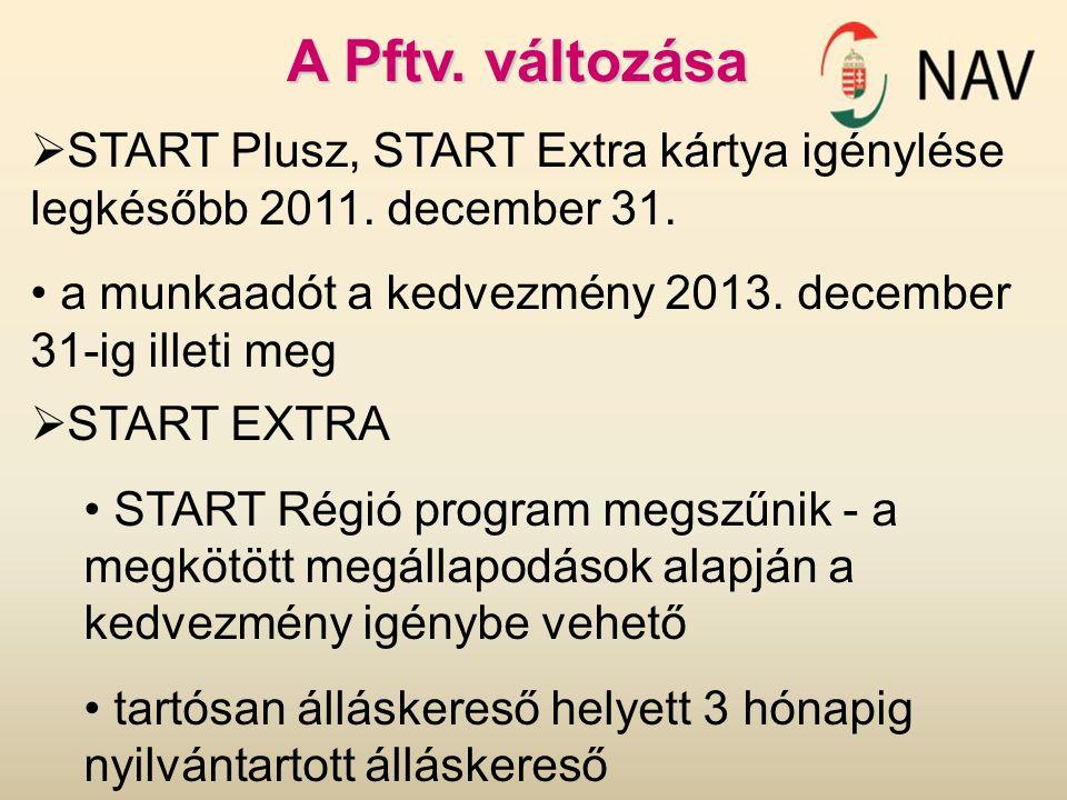 A Pftv. változása START Plusz, START Extra kártya igénylése legkésőbb 2011. december 31. a munkaadót a kedvezmény 2013. december 31-ig illeti meg.
