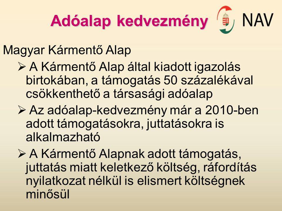 Adóalap kedvezmény Magyar Kármentő Alap