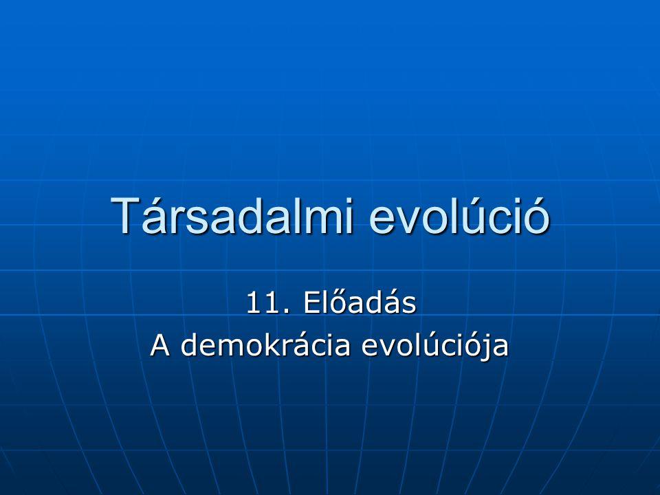 11. Előadás A demokrácia evolúciója