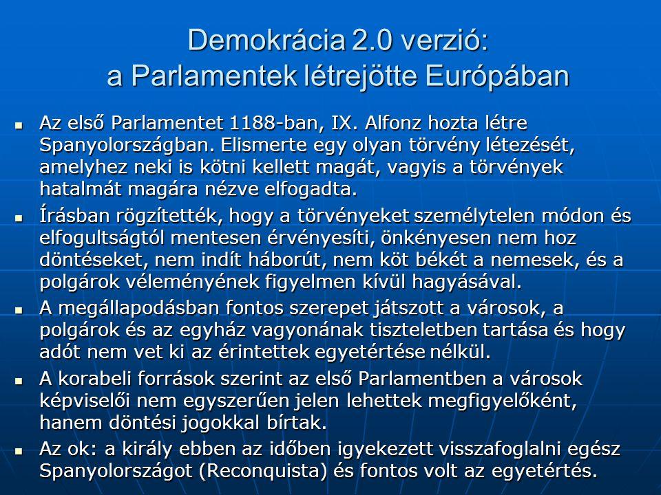 Demokrácia 2.0 verzió: a Parlamentek létrejötte Európában