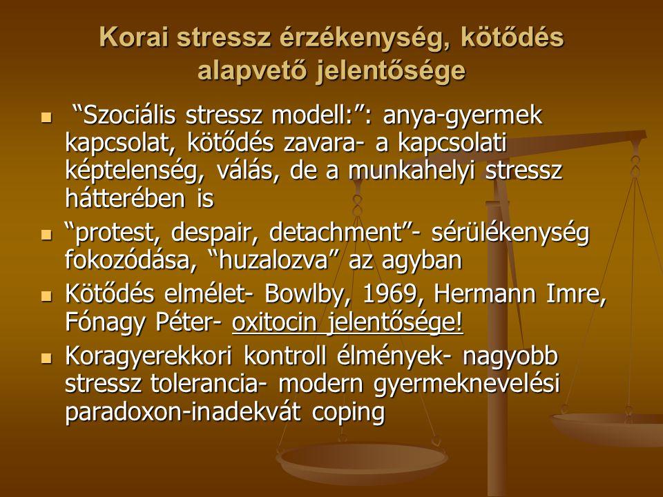 Korai stressz érzékenység, kötődés alapvető jelentősége