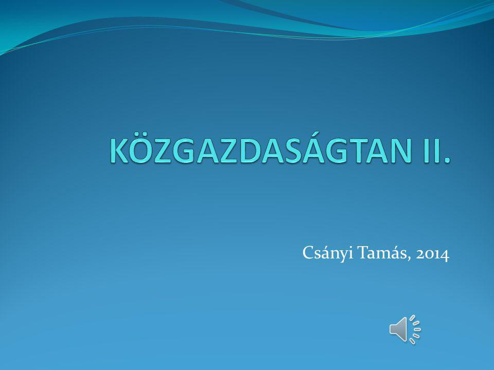 KÖZGAZDASÁGTAN II. Csányi Tamás, 2014