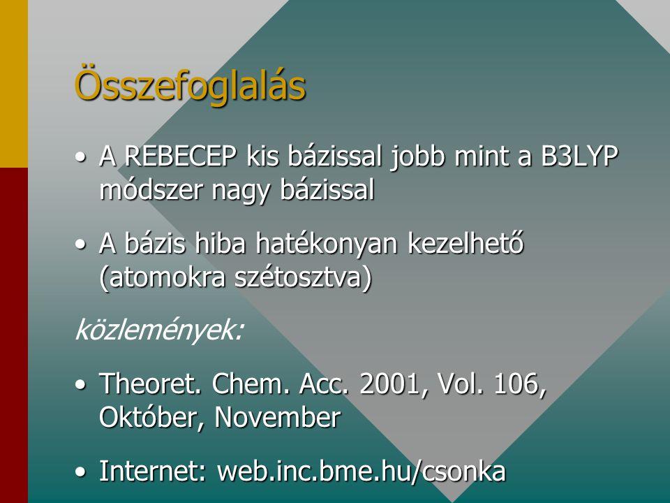 Összefoglalás A REBECEP kis bázissal jobb mint a B3LYP módszer nagy bázissal. A bázis hiba hatékonyan kezelhető (atomokra szétosztva)