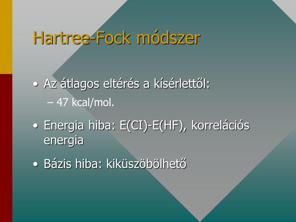 Hartree-Fock módszer Az átlagos eltérés a kísérlettől: