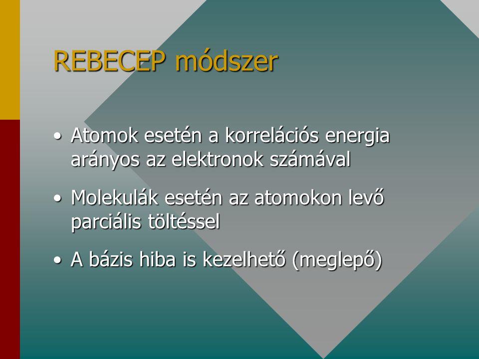 REBECEP módszer Atomok esetén a korrelációs energia arányos az elektronok számával. Molekulák esetén az atomokon levő parciális töltéssel.