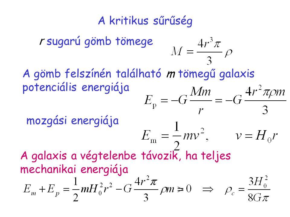 A kritikus sűrűség r sugarú gömb tömege. A gömb felszínén található m tömegű galaxis. potenciális energiája.